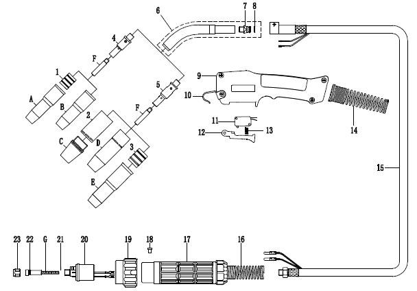 [NRIO_4796]   Air Cooled MIG Welding Gun, Welding Torch with Lincoln Fittings, NORTH  Mixed Gas Welding Pistol Manufacturer | Welding Gun Diagram |  | NORTH Welding Tools Company, Welding Gun Manufacturer, MIG / MAG Welding